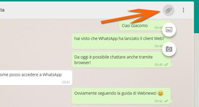 I pulsanti per l'invio di file o fotografie tramite WhatsApp Web