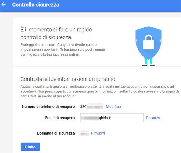 Il primo step consiste nel controllare le informazioni di ripristino dell'account