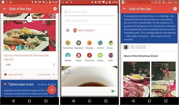 Screenshot per l'applicazione di Tablescape, nuovo social network di Google dedicato al cibo