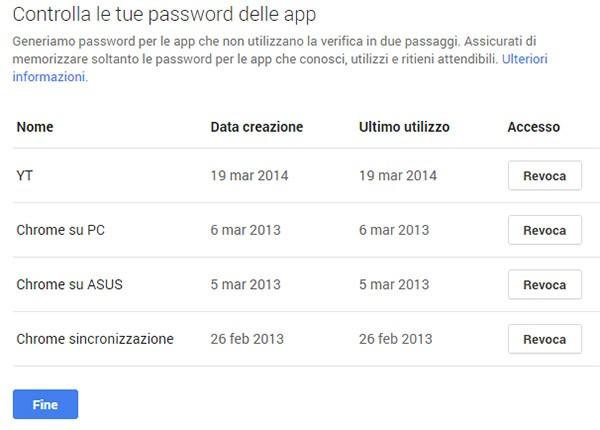 Quarto step: verifica delle password generate