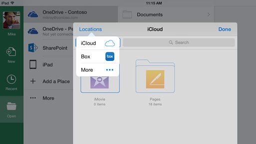 Integrazione di iCloud e Box in Office per iOS.