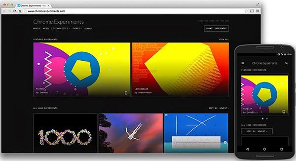 La nuova homepage del sito ChromeExperiments.com
