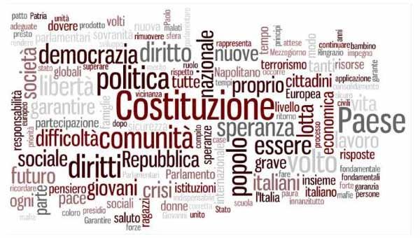 Il cloud dei termini più frequenti nel discorso di Sergio Mattarella, stamani a Montecitorio. Si nota un'attenzione particolare alla Costituzione, alla speranza dei cittadini, la senso di comunità. Il web, la sicurezza, il terrorismo, lo sviluppo economico grazie al superamento del digital divide sono elementi citati, importanti, ma relativamente piccoli.