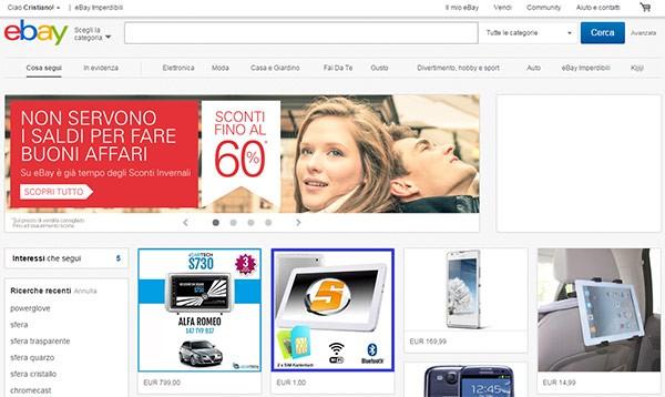 eBay, la homepage