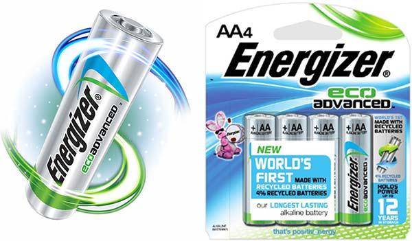 Le nuove batterie Energizer EcoAdvanced, realizzate con il 4% di materiale riciclato
