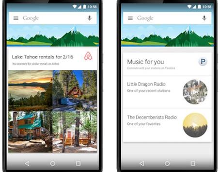 Le schede dell'assistente virtuale Google Now possono essere integrate nelle applicazioni di terze parti