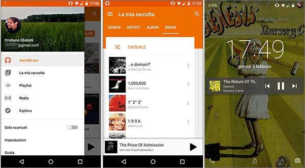 Screenshot per l'applicazione Google Play Music 5.8 su smartphone Android