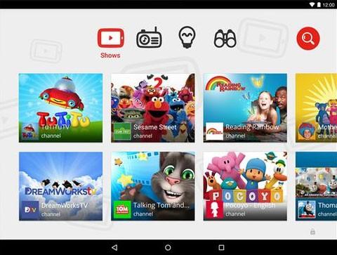 L'interfaccia di YouTube Kids su tablet Android