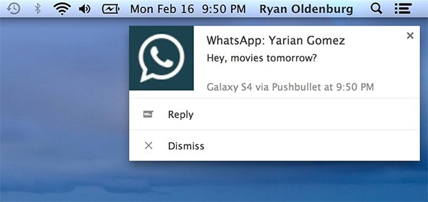 Il pop-up di Pushbullet che permette di rispondere da computer ai messaggi ricevuti su WhatsApp