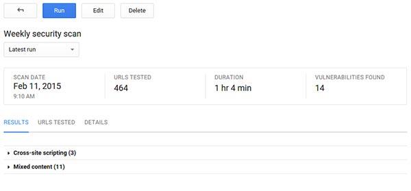 I risultati di un test effettuato con il nuovo tool Google Cloud Security Scanner, al momento disponibile in versione beta