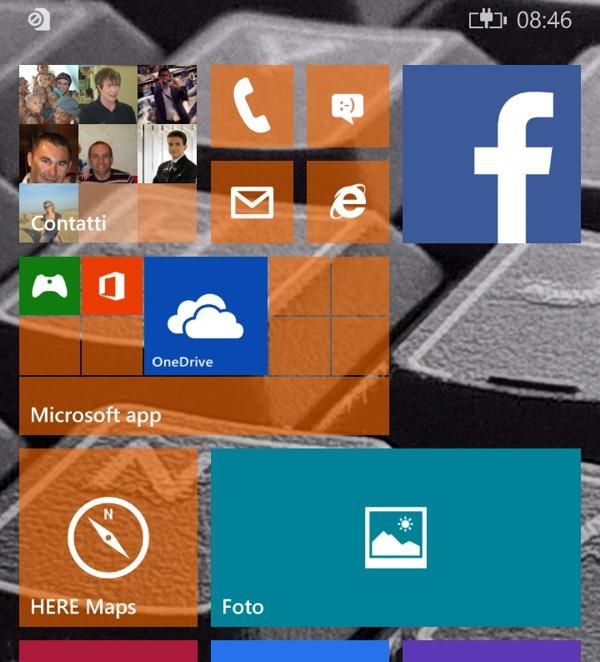 Start screen con tile semitrasparenti
