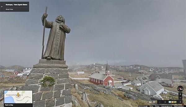 La statua di Hans Egede, a Nuutoqaq (Groenlandia) su Street View