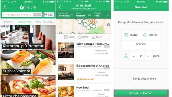 TheFork è un'applicazione disponibile per iOS e Android, che ha sei milioni di utenti. Si tratta di una controllata di Tripadvisor nata dall'acquisizione di un'idea francese. In Italia è nata dopo l'acquisizione di due startup che giò operavano sul booking dei ristoranti e possedevano dati e know how.