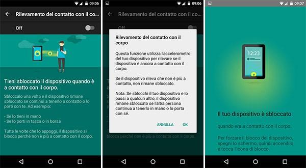 """La nuova opzione """"Rilevamento del contatto con il corpo"""" per la funzionalità """"Smart Lock"""" dei dispositivi Android"""