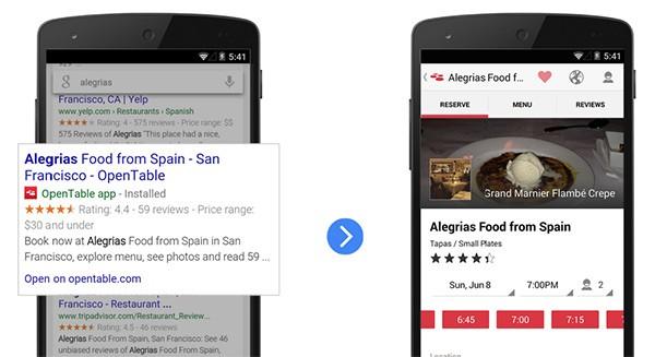 Google: App Indexing per le ricerche onlineGoogle: App Indexing per le ricerche online