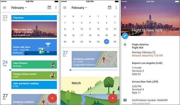 Screenshot per l'applicazione Google Calendar in esecuzione su iPhone