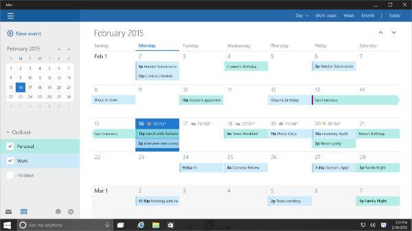 Windows 10: app Calendario