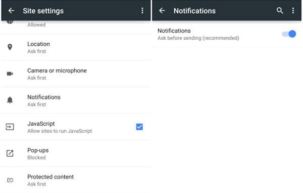 """La nuova funzionalità """"Notifiche"""" introdotta da Google nella versione Beta del browser Chrome su dispositivi Android"""