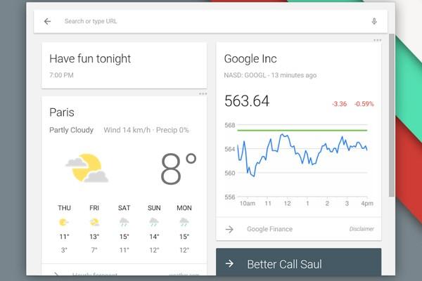Il nuovo launcher di Chrome OS, con l'integrazione delle schede Google Now