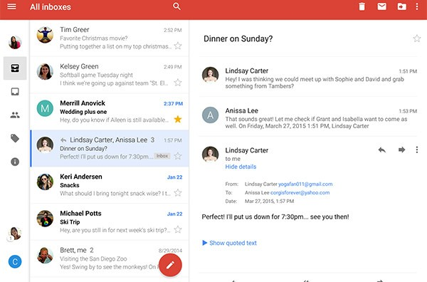 Una conversazione all'interno della casella Gmail, su dispositivo Android