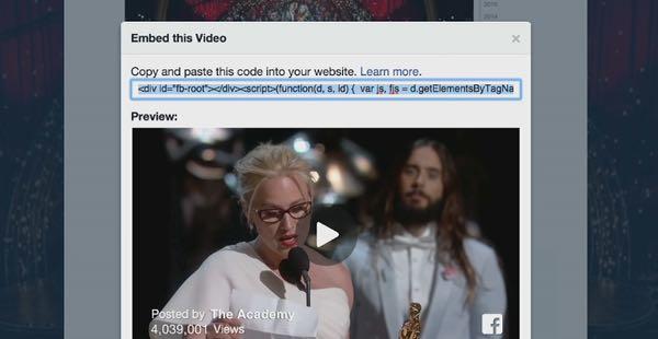 Condivisione video su Facebook