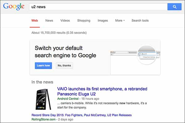 Il messaggio mostrato da Google agli utenti Firefox negli USA, per convincerli a impostare il proprio motore di ricerca come predefinito