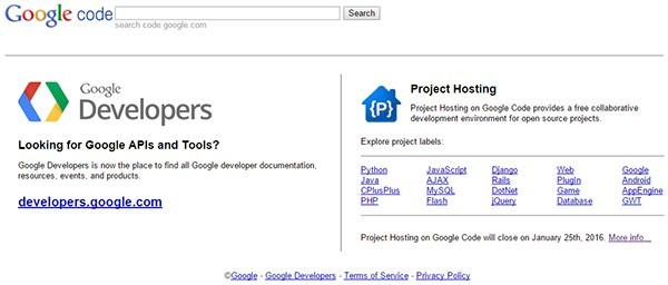 La homepage di Google Code