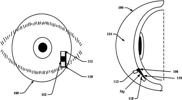 Un'immagine dal brevetto depositato da Google per le lenti a contatto smart