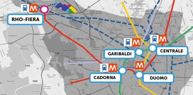 Mappa per raggiungere Expo 2015