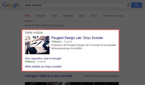 """La sezione """"Nelle notizie"""" nella pagina dei risultati di Google"""