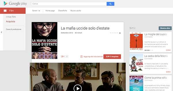 La scheda di un film del catalogo RAI Cinema sulla piattaforma Google Play Film