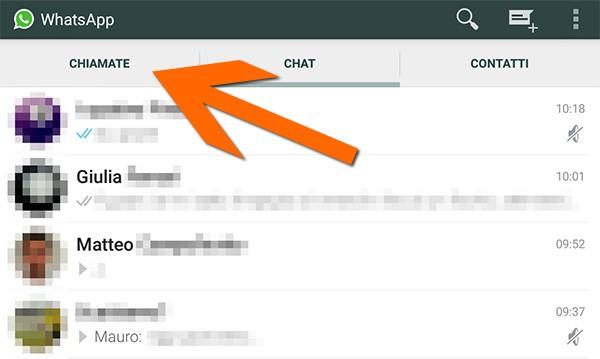 La scheda Chiamate nell'interfaccia di WhatsApp