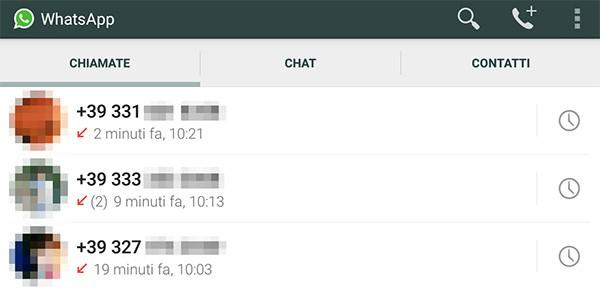 La cronologia delle Chiamate su WhatsApp