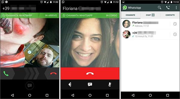 Screenshot per la funzionalità Chiamate integrata in WhatsApp