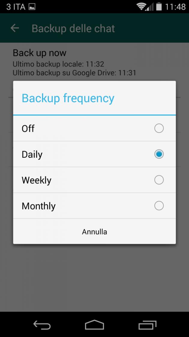 WhatsApp 2.12.45, backup su Google Drive