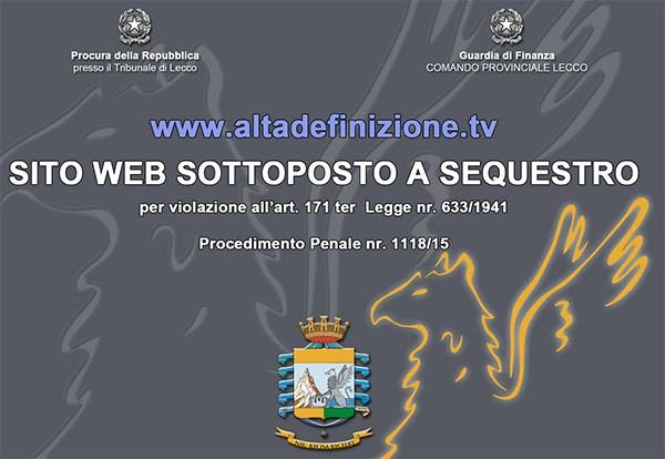 L'immagine che campeggia sulla homepage del sito AltaDefinizione.tv, ora sottoposto a sequestro