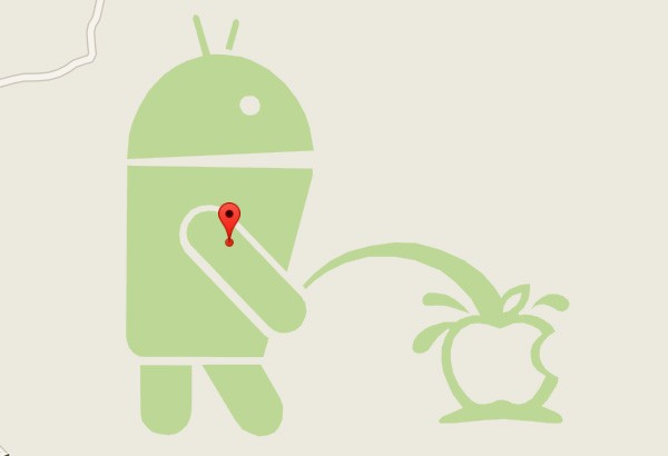 Il logo di Android e quello di Apple, nell'easter egg più irriverente di Google Maps
