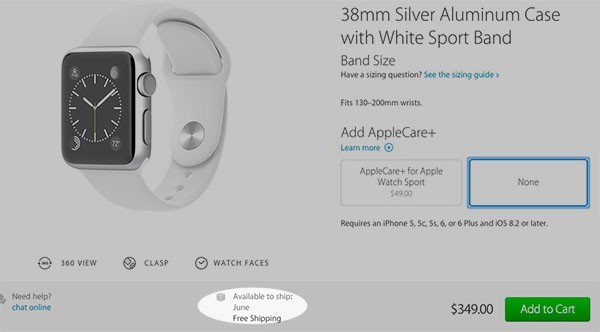 Apple Watch a giugno