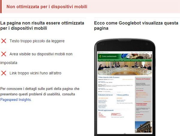 Test di compatibilità con dispositivi mobili: www.cortecostituzionale.it