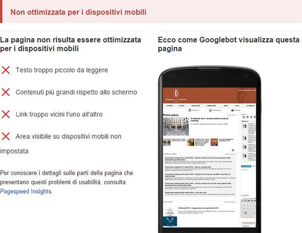 Test di compatibilità con dispositivi mobili: www.corteconti.it