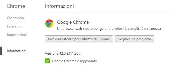 La nuova versione 42 del browser Chrome di Google (screenshot dalla release per computer Windows)