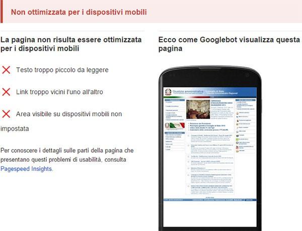 Test di compatibilità con dispositivi mobili: www.giustizia-amministrativa.it