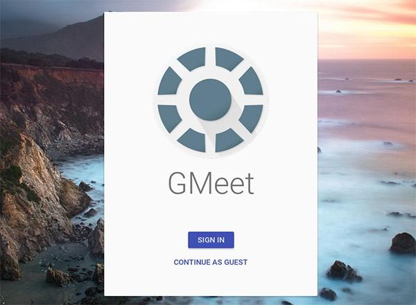 Screenshot per il servizio GMeet di Google