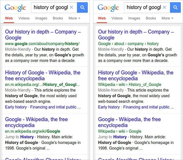 Il vecchio (a sinistra) e il nuovo (a destra) modo di visualizzare l'URL dei link indicizzati da Google sui dispositivi mobile