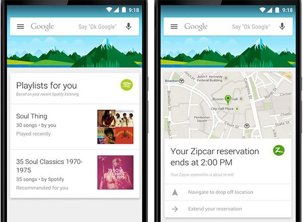 Nuove schede per Google Now: Spotify e Zipcar