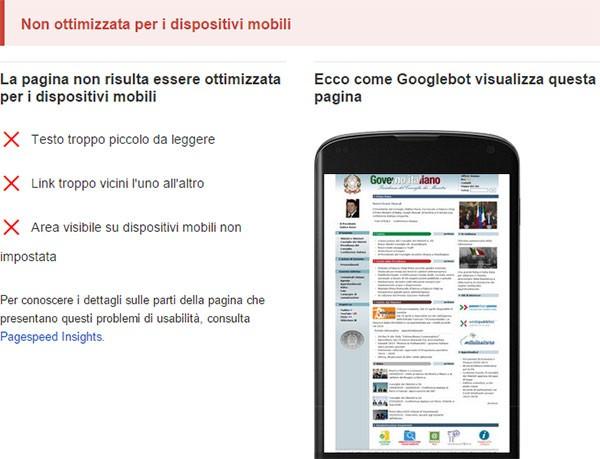Test di compatibilità con dispositivi mobili: www.governo.it