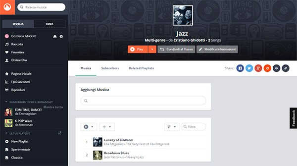 Il player Web di Grooveshark