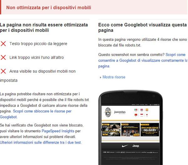 Mobilegeddon: il sito ufficiale della Juventus non supera il test di Google