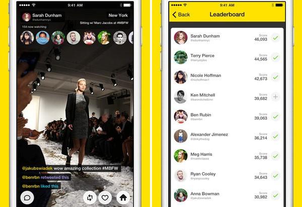 Screenshot per l'interfaccia di Meerkat su iPhone