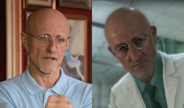 Il dott. Sergio Canavero (a sinistra) e il medico di Metal Gear Solid 5: The Phantom Pain (a destra)